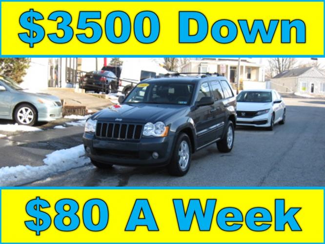 2008 Blue /Gray Jeep Grand Cherokee Laredo 4WD (1J8GR48K38C) with an 3.7L V6 SOHC 12V engine, 5-Speed Automatic Overdrive transmission, located at 577 Chester Pike, Prospect Park, PA, 19076, (610) 237-1015, 39.886154, -75.302338 - Photo #0