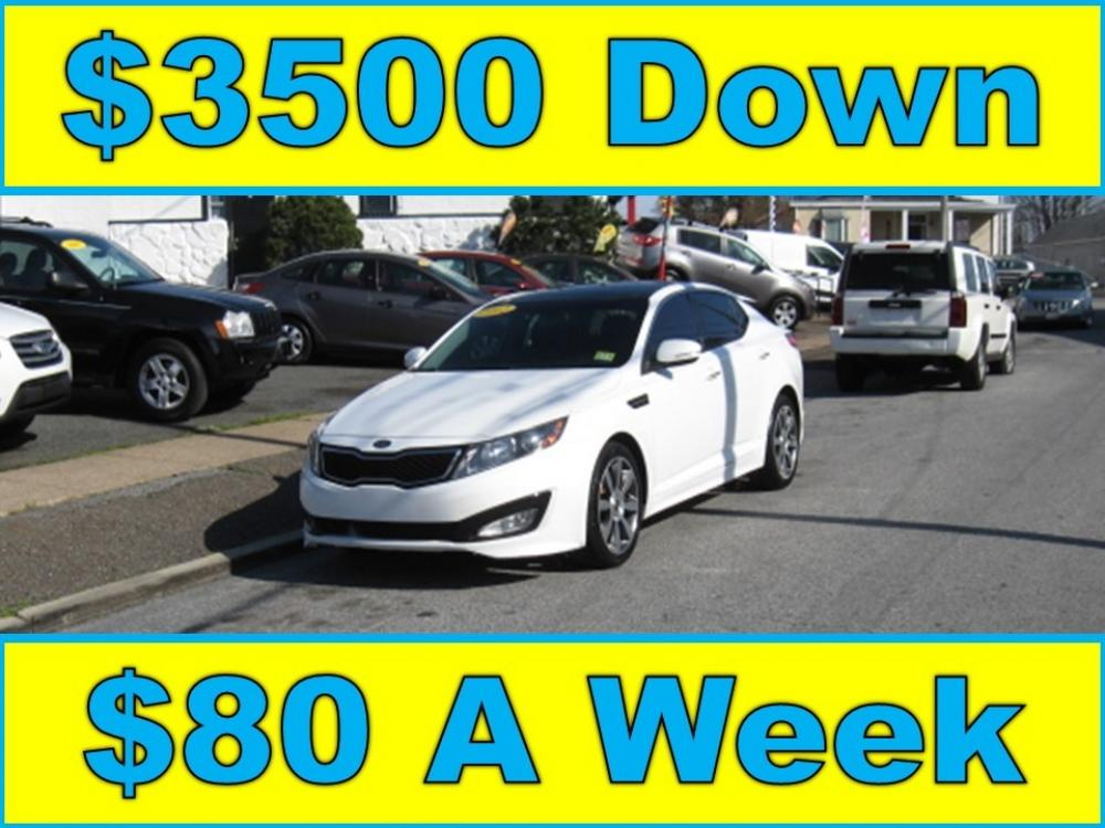 2012 White /Black Kia Optima SX (5XXGR4A61CG) with an 2.0L L4 DOHC 16V TURBO engine, 6-Speed Automatic transmission, located at 577 Chester Pike, Prospect Park, PA, 19076, (610) 237-1015, 39.886154, -75.302338 - Photo #0